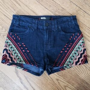 BDG Denim Shorts Embroidered Tribal Southwest